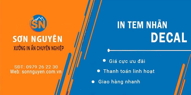 In tem nhãn decal giá rẻ - Xưởng in Sơn Nguyên tại Hà Nội