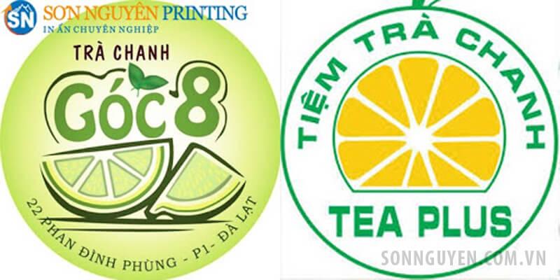 Tem logo trà chanh hình tròn