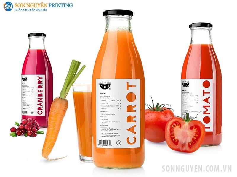 Mẫu in tem nhãn dán nước hoa quả