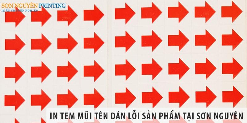 In tem mũi tên dán lỗi sản phẩm giá rẻ tại Sơn Nguyên